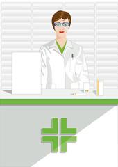 farmacia donna farmacista vettoriale