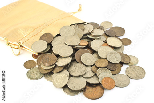 old coins in a sack
