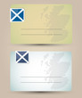 business card with flag and map of Scotland