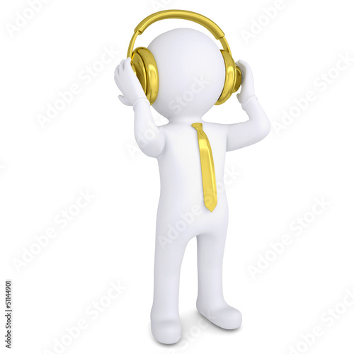 3d white man with the golden headphones
