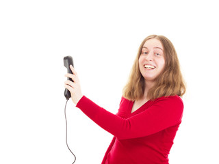 Young woman calling somebody