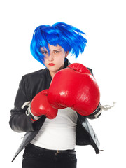 girl with blue wig and red boxing gloves