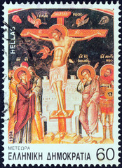 Crucifixion, painting, Great Meteoron monastery (Greece 1994)