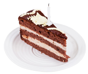portion of chocolate cake with candle