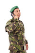 Young army soldier with beret speaking on phone