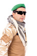 Soldier with green beret and glasses