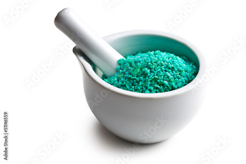 green bath salt in mortar