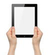Woman hands holding black tablet PC on white background .