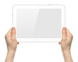 Woman hands holding white tablet PC