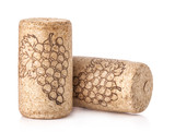 Wine cork with grape illustration Isolated on white