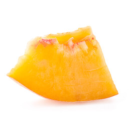 Slice of peach, isolated on white background