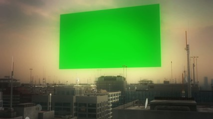 Aerial city and green screen