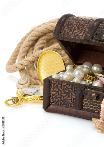 antique treasure chest isolated on white