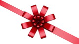 Single red ribbon and bow animating on centered