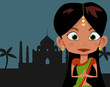 Cartoon Indian girl in sari