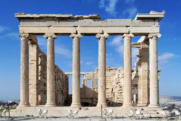 Backside of the Erechtheion temple with ionic columns in Acropol