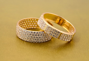 Golden jewelry two rings