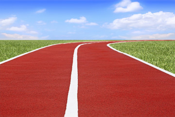 Running track and field on blue sky background