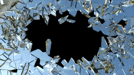 Bullet hole: Shattered glass with slow motion. Alpha
