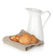 Various cookies and milk jug
