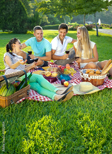 canvas print picture Two couples picnicking in a park