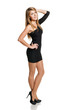 Girl in black mini dress posing in full length