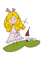 Cartoon-Zeichnung: Mädchen feiert Erstkommunion