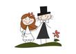 Cartoon-Zeichnung: Glückliches Brautpaar