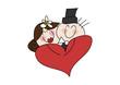 Cartoon-Zeichnung: Brautpaar mit Herz