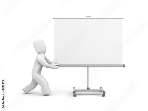 Person push projection screen or whiteboard
