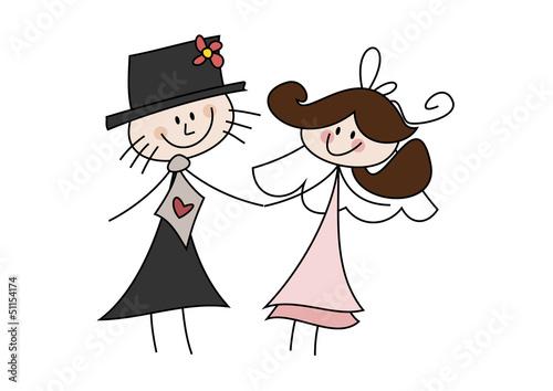 Gamesageddon Cartoon Zeichnung Frohliches Brautpaar Lizenzfreie