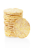 Corn crackers stack isolated on white, clipping path included