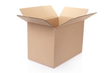 Open cardboard box on white, clipping path included