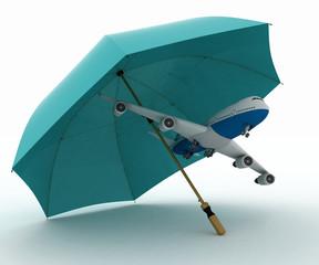 Passenger plane flies under the umbrella