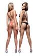 Two beautiful athletic girl wearing bikini posing indoors