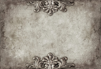 Vintage royal silver horizontal background with floral ornaments
