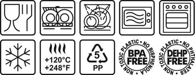 Symbols for marking plastic dishes