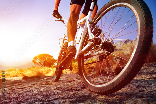 canvas print picture moutain bike man