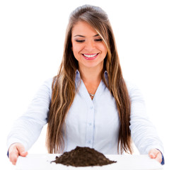 Business woman with soil