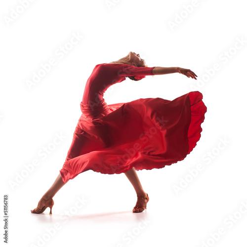 Tuinposter Gymnastiek woman dancer wearing red dress