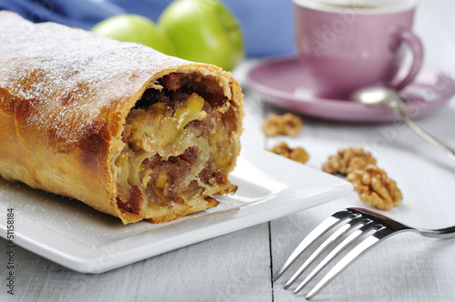 apple strudel on a dish