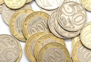 Kazakhstan Tenge coins on a white background