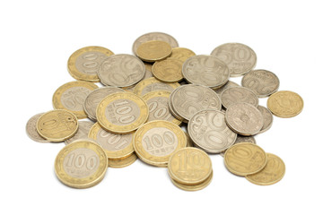 Kazakhstan Tenge coins on a white background