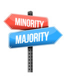 minority, majority road sign illustration design