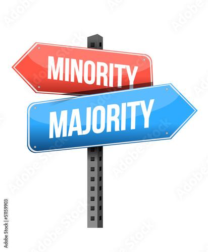 minority, majority road sign illustration design