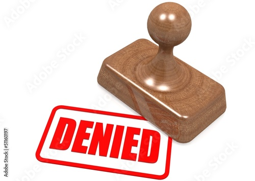 Denied word on wooden stamp