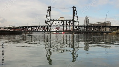Water Reflection of Steel Bridge with Train in Portland OR