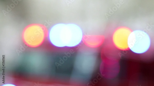 Fire Engine Truck Emergency Colorful Lights Blinking Bokeh