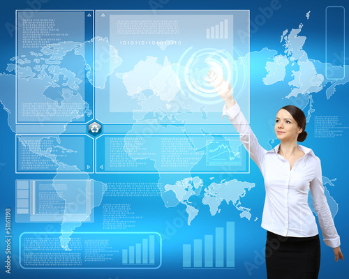 Businesswoman and technology related background