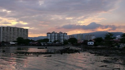 Colorful Sunset from Historic Tan Jetty in Penang Malaysia
